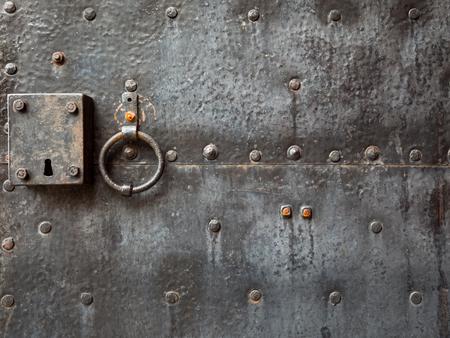 door knocker: Old door with door knocker Stock Photo