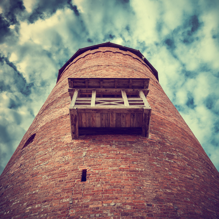 'retro styled': Latvian attraction - medieval tower of the Turaida castle. Sigulda, Latvia.