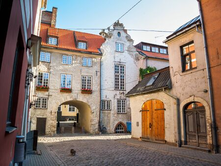 history building: Morning street in the old city of Riga, Latvia