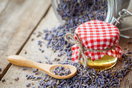 herbs of provence: Honey and dry lavender tea closeup. Selective focus. Stock Photo