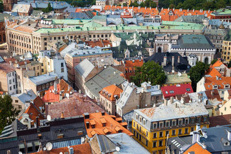 tiled: Aerial view of the old Riga city, Latvia