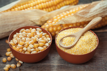 Corn grits and seeds in bowls, corncobs on kitchen table. Selective focus
