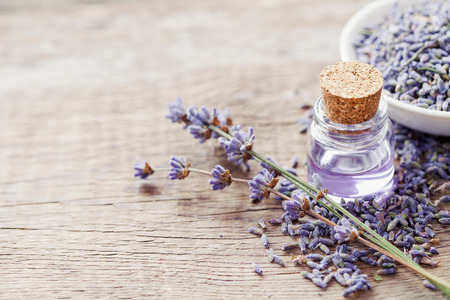 Essential lavender oil and dry lavender flowers. Selective focus. Stock Photo