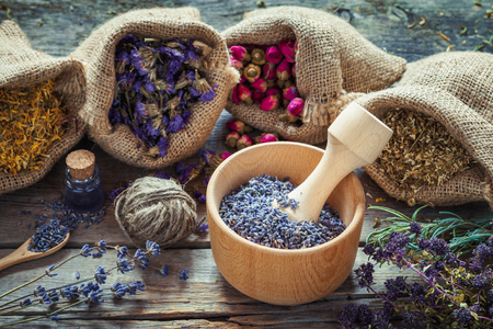 hessian: Healing herbs in hessian bags, wooden mortar with dry lavender, bottles with tincture, herbal medicine. Focus on mortar. Stock Photo