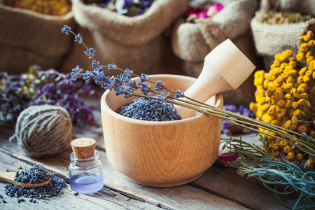 wild botany: Healing herbs in hessian bags, wooden mortar with lavender flowers, bottles with tincture, herbal medicine. Selective focus. Stock Photo
