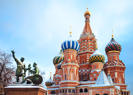 vasily: Beautiful  Moscow Attractions -  saint Basils Cathedral and  monument to Minin and Pozharsky on Red Square