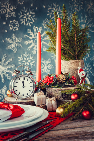 Christmas table setting in rustic style. Stock Photo