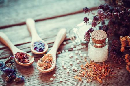 Fles van witte bolletjes homeopathie, houten lepels en droge gezonde kruiden. Selectieve aandacht. Retro stijl. Stockfoto