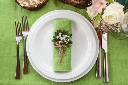 natural setting: Wedding place setting in beautiful rustic style.Top view.