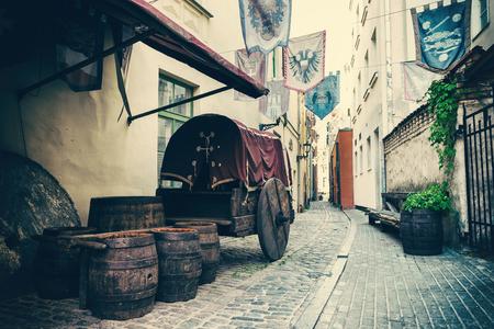 barrel tile: Medieval street in the old city of Riga, Latvia