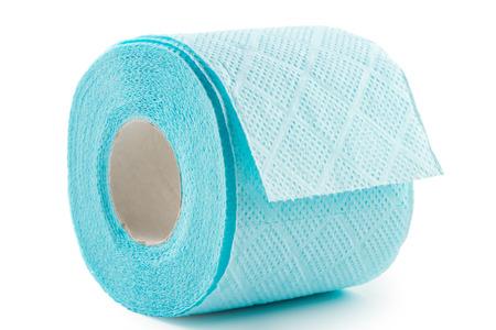 Blue toilet paper on white Stock Photo