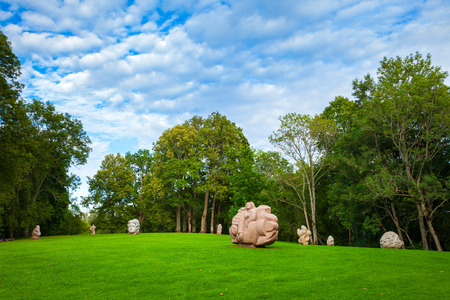 sigulda: Sculptures in Turaida park - characters from Latvian folklore. Latvia Stock Photo