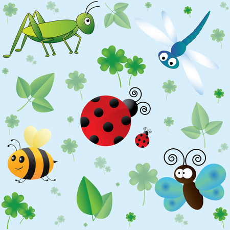 cartoon shamrock: Seamless pattern with cute cartoon insects and leaves Stock Photo