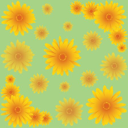 marigold: seamless green pattern with marigold flower Stock Photo
