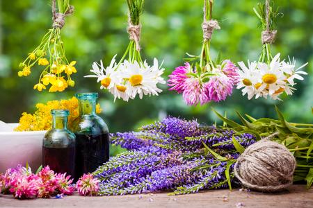 flores secas: Colgando las hierbas curativas racimos, botellas de tintura y mortero con flores. Medicina herbaria.