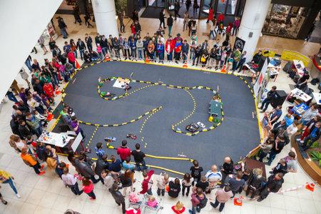 Minsk, Belarus, 11-May-2014: rally of radio controlled car models on celebration of Ice Hockey World Championship in Minsk, Belarus.