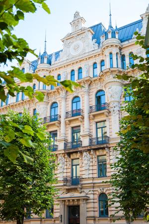 fasade: Art Nouveau architecture - building fasade of Riga city.