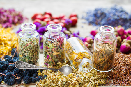 Bottles of healing herbs, herbal medicine.