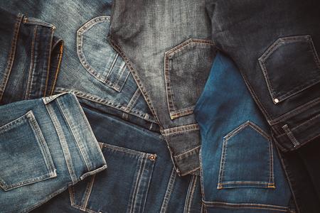 Mode verschiedenen Jeans-Hintergrund. Retro abgeschwächt.