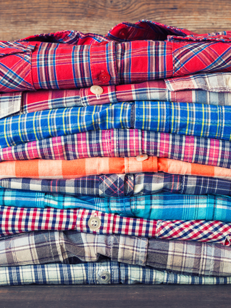 toned: Stack of shirts. Retro toned.