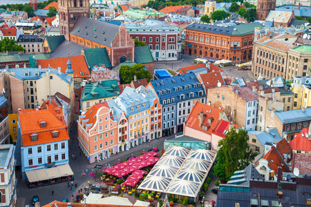 Riga, Latvia - 24-August-2015: View from tower of Saint Peters Church on the roofs of old houses in old city of Riga, Latvia.