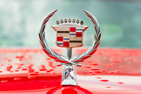 Minsk, Belarus - May-5-2012: Logo of vintage Cadillac motor car close up at exhibition of retro cars in Minsk, Belarus. Editorial
