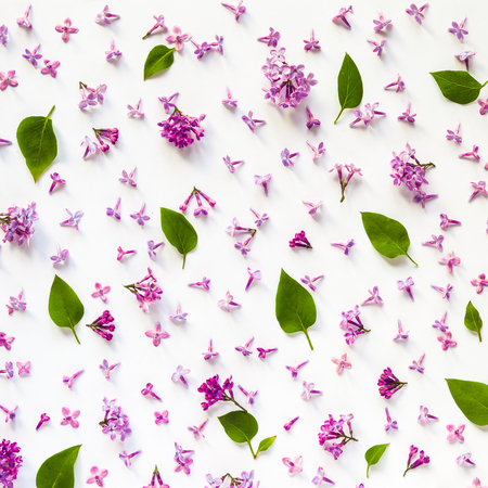 Floral pattern of fresh lilac flowers and leaves on white. Flat lay, top view.