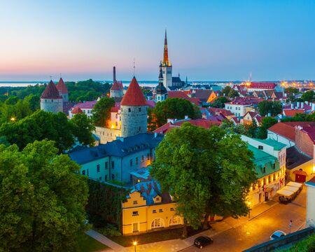 Cityscape of old town Tallinn at dusk, Estonia