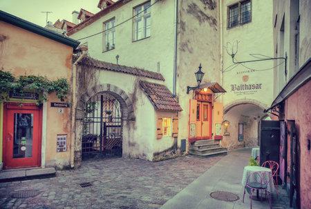 Tallinn, Estonia - May 30, 2016: medieval street and restaurant Balthasar in the Historical Centre of Tallinn city. Tallin, Estonia.