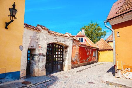 Summer medieval street in the Historical Center of Tallinn city. Tallinn, Estonia.