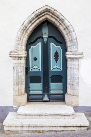 old vintage: Vintage door in old Tallinn city, Estonia Stock Photo