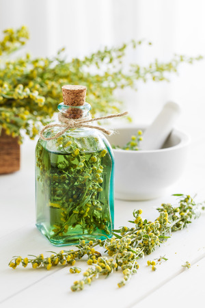 tincture: Bottle of absent or tincture of tarragon, absinthe healing herbs and mortar on white table. Herbal medicine.