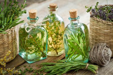 pocima: Botellas de aceite de tomillo y romero o infusión esenciales, hierbas medicinales.