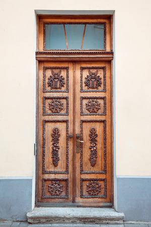 wood carving door: Retro door in old Tallinn city, Estonia