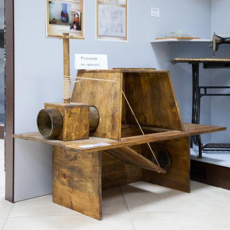a toilet stool: KIEV, UKRAINE - SEPTEMBER 25, 2016: retro wooden lavatory in toilet museum in Kiev, Ukraine.
