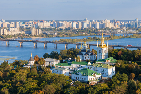 View of Kiev Pechersk Lavra and Dnepr river. Kiev, Ukraine.