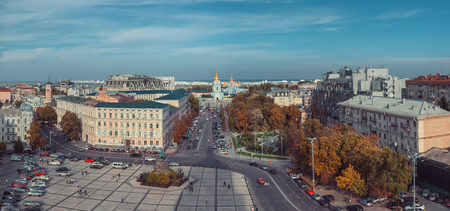 View from Bell tower of St Sophia Cathedral on Sophia Square, St Michael Golden domed monastery and Bohdan Khmelnitsky monument. Kiev, Ukraine.