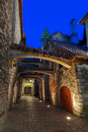 Medieval street - Saint Catherine Passage at night in Tallinn, Estonia.