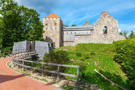 sigulda: View of new neogothic castle in Sigulda. Latvia