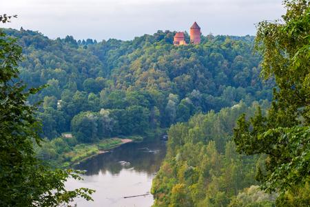 sigulda: View on Turaida castle and Gauja valley in Sigulda, Latvia.