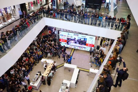 baristas: Minsk, Belarus - April 4, 2017: competition of baristas during Coffee Fest in Galleria Minsk Shopping Center. Minsk, Belarus. Editorial