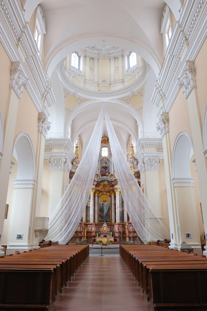 Inside of St Casimir Jesuit church. Vilnius. Lithuania. Редакционное