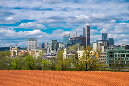 Panoramic view of the modern city center of Vilnius, Lithuania.