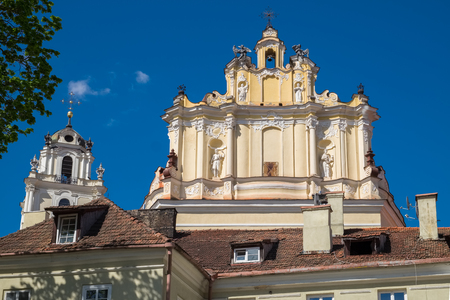 Fragment of Church of St. Johns and bell tower. Vilnius, Lithuania.