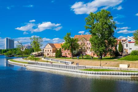 svisloch: Minsk, Belarus - May 24, 2017: Trinity suburb old town on Minsk, Belarus. Stock Photo