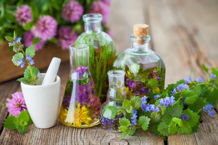 Bottles of tincture or infusion of healthy herbs, mortar and healing plants on old wooden board. Herbal medicine. Stok Fotoğraf