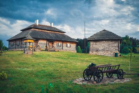 Retro ethnic houses on rural landscape - village of birthplace of Tadeusz Kosciuszko - Kossovo, Brest region, Belarus.