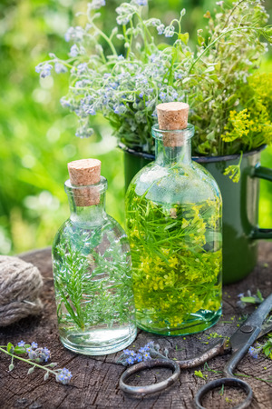 Bottles of tincture or infusion of healing herbs, medicinal herbs in green enameled mug on old stump outdoors. Herbal medicine concept. Stock Photo