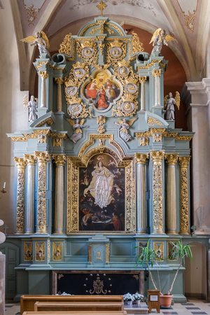 Kaunas, Lithuania - May 12, 2017: interior inside Cathedral Basilica of St Peter and Paul, Kaunas, Lithuania.