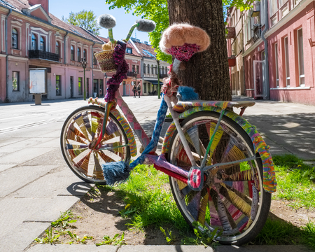 Fashion decorated bike on walking street in Kaunas, Lithuania.